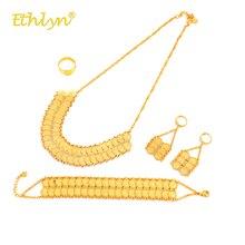 Ethlyn Orta Doğu/İslam/Arap Lüks Altın Renk Çift Para Kolye/Büyük Damla Küpe/Yüzük/ bilezik Kadınlar Takı Setleri S273