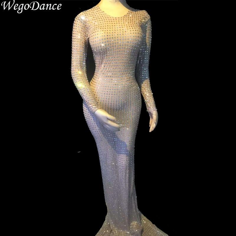 New Fashion Full Rhinestones Women Evening Birthday Celebrate Long Dress Nightclub Stage Women Singer Dancer Costume