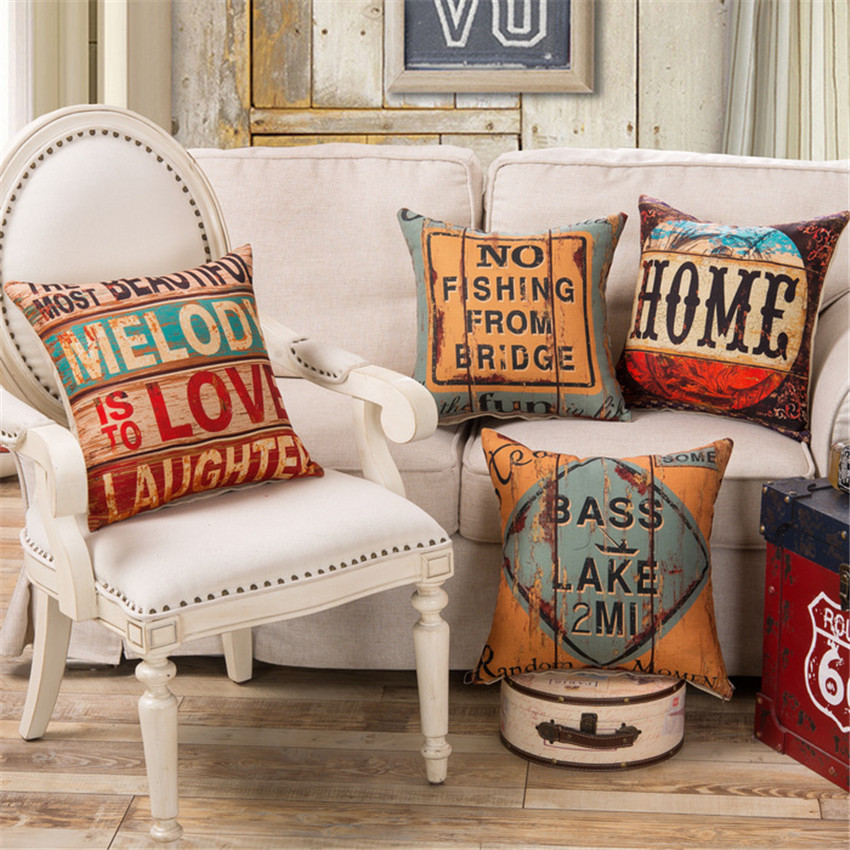 Nordic 45x45cm Cotton Linen Cushion Cover Creative Retro Letters Pattern Office Chair Sofa Throw Pillow Cover Home Decor