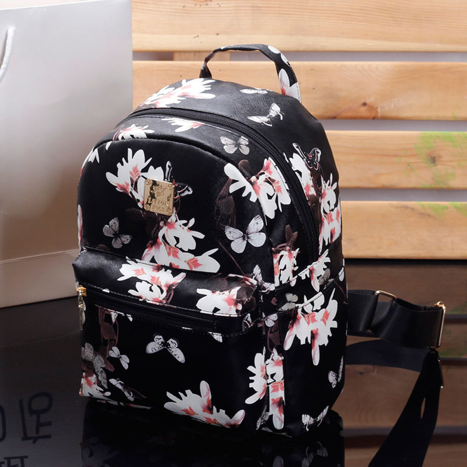 Women Cute School Bags Backpack Mini 2016 Fashion Back Pack Floral Printing Black Small PU Leather Backpack For Teenagers Girls fashion women pu leather panda backpack teenagers girls cartoon school bags student book bag cute black white patchwork design