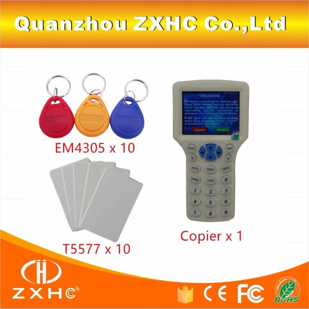 bilder für Englisch Sprache USB Rfid-lesegerät Schriftsteller Copier Duplicator Für H-ID/IC/ID 125 Khz 13,56 Mhz Karte 10 frequenz + 20 stücke Beschreibbare Tags
