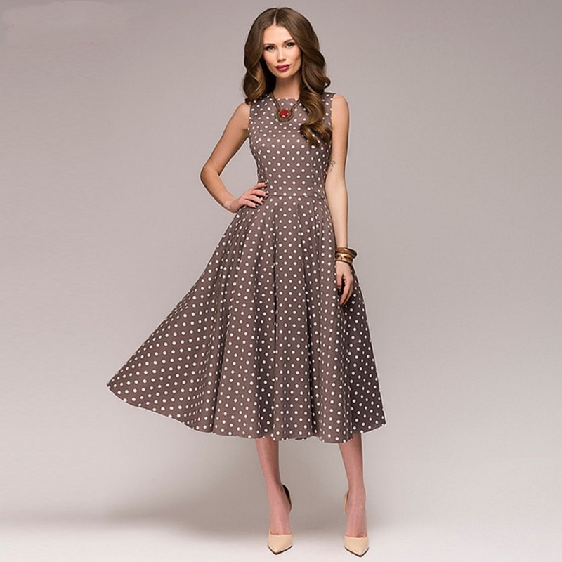 Vintage Dress 2018 Summer New Sleeveless O-neck Vestidos Women Elegant Thin Dot Printing Casual Dress Plus Size XXXL 4XL