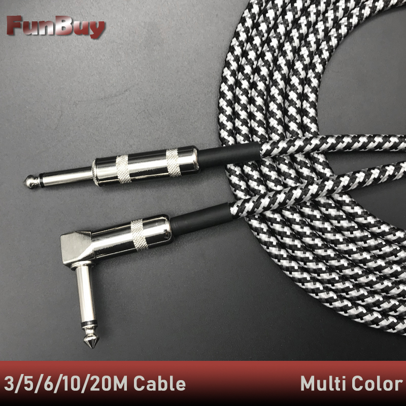Guitar Audio Cable Professional Noise Free 3/5/10/20 Meters Guitar Cables For Guitar Mixer Amplifier Bass Effect Pedal Dropship