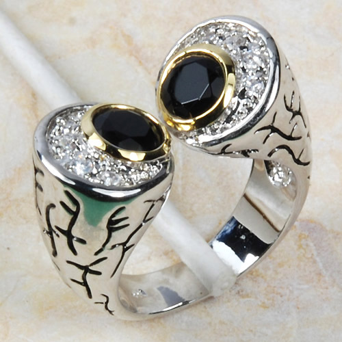BLACK ONYX GEMSTONE RING  STERLING SILVER  and 14kt ROLLED GOLD size 5 TO  15