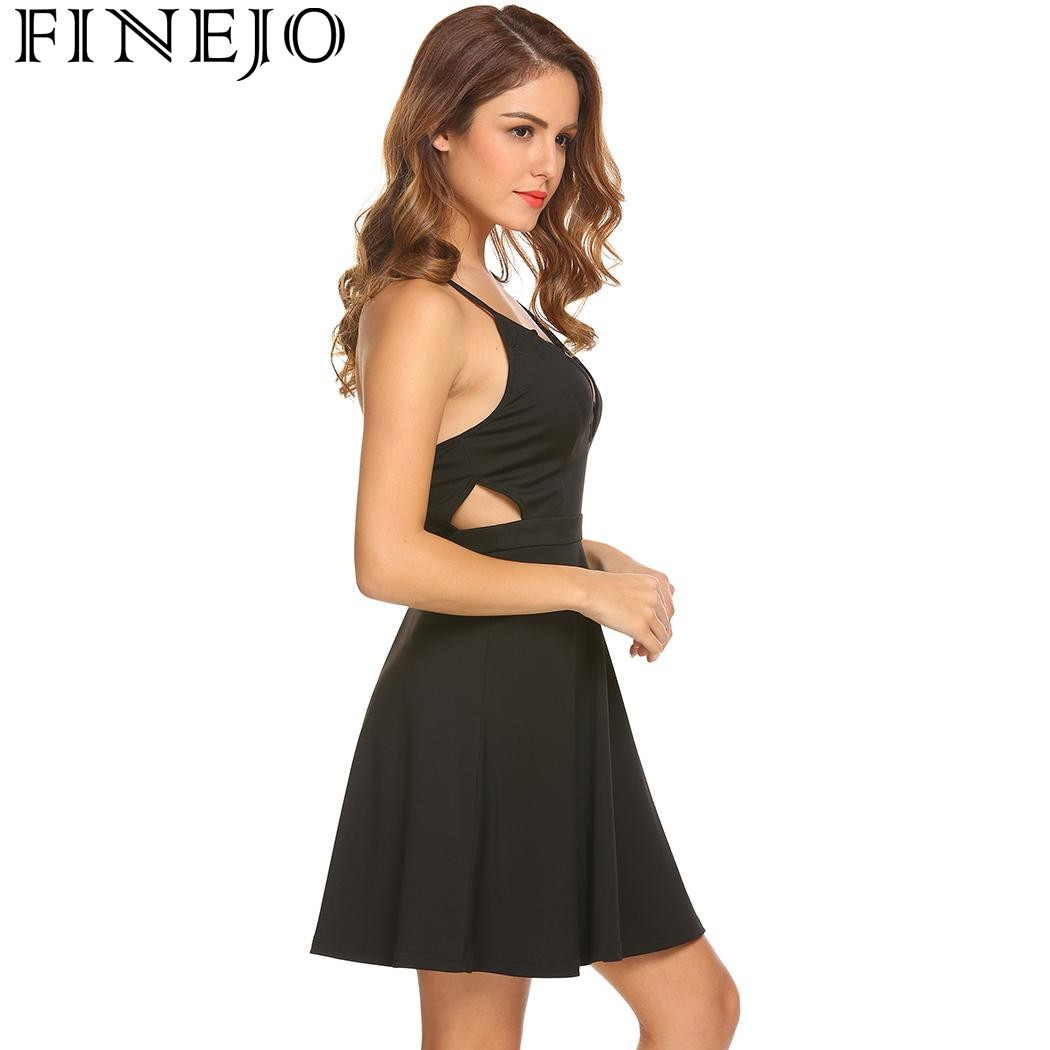 223850e758 Aliexpress.com   Buy FINEJO Women Cross Front Sleeveless Party Fit and Flare  Dress Sexy Back V Neck Cut Out Waist Mini Dresses 2018 New Spring Summer  from ...