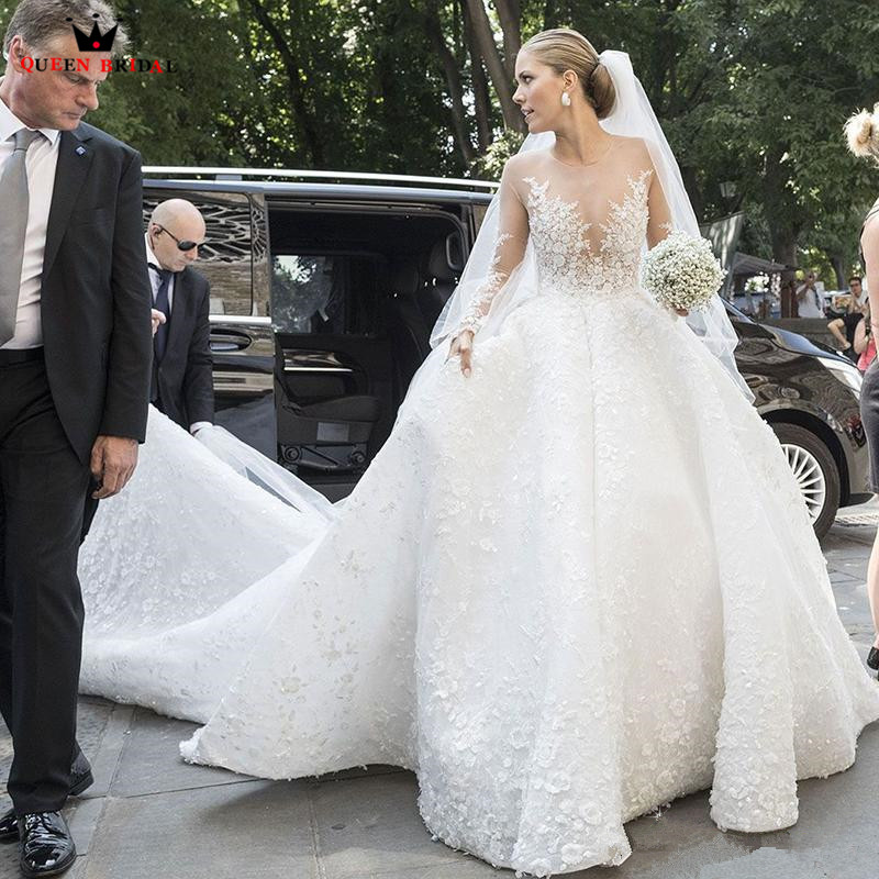 Giant Ball Gown Wedding Dress: Custom Made Ball Gown Fluffy Big Train Long Sleeve Lace