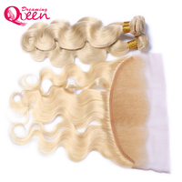 613 Pure Color Brazilian Body Wave Human Hair 3 Bundles with 13x4 Lace Frontal Non Remy Hair Dreaming Queen Hair