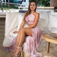 Glamaker Halter Two Piece Set Max Dress Women Summer Dress Split Wraped Party Casual Long Dress
