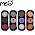Nova Moda 3 Cor Fosca ou Brilho Paleta Da Sombra de Cosméticos Conjunto de maquiagem paletas de Sombra de Olho Com 3 pcs Oval Pincel de Maquiagem msq