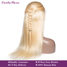 Lynlyshan Straight Peruvian Remy Human Hair #613 Blonde Wigs 150% Density Lace front Wig 613 Human Hair Wig Hot sale(China)