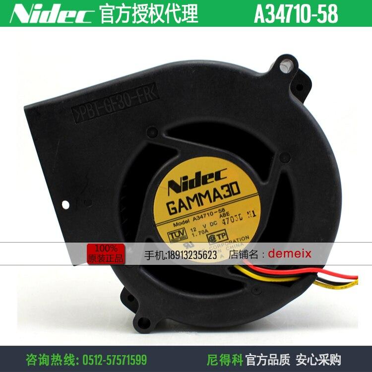 NEW NIDEC A34710 58 9733 12V1.70A 3lines turbine turbo Blower cooling fan|  - title=