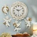 4 шт смолы типа Европа Ангел ofing настенные для украшения дома подвески и цифровые настенные часы Тихая комната часы