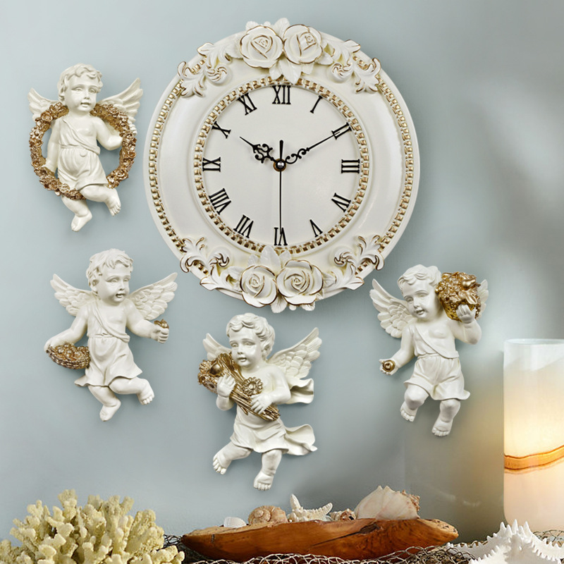 4pcs Resin of the type Europe angel ofing wall to hang home decoration suspension and Digital Wall Clock Quiet Room