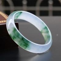 Un natural de hielo flotante de flores pulsera verde de la mano femenina Pulsera pulsera de Yang