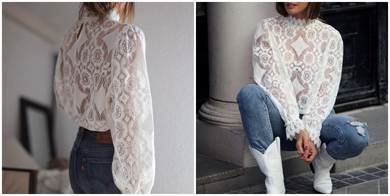 Simplee Elegant white lace blouse shirt Sexy hollow out embroidery feminine blouse Women long lantern sleeve summer tops female 5