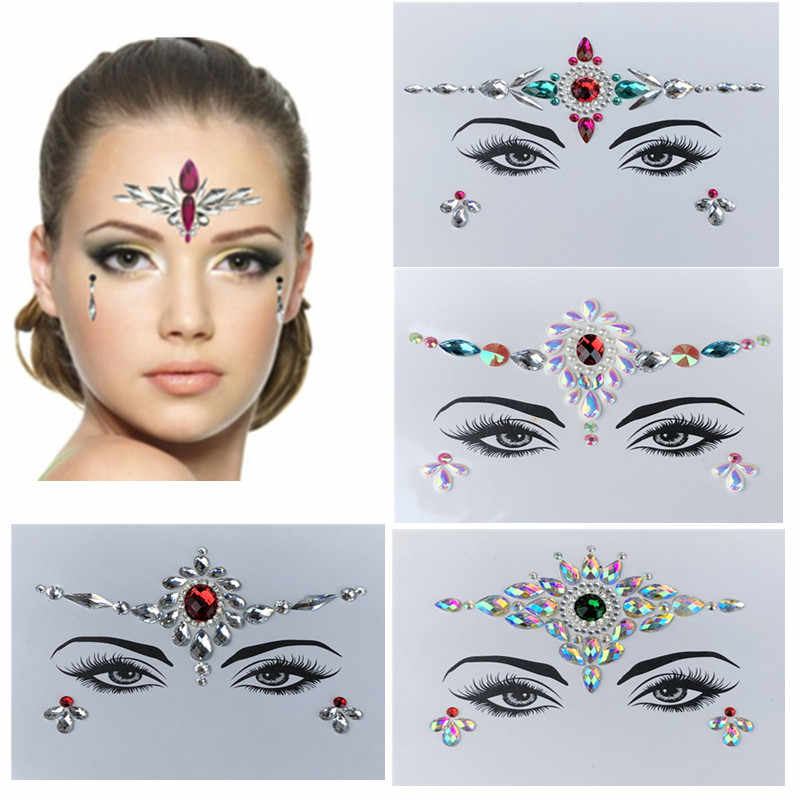 728324690 Jewels Festival Party Body Glitter 3D Stickers Adhesive Face Gems Rhinestone  Temporary Tattoo Flash Acrylic Stickers