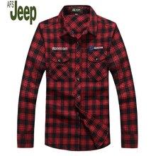 AFSJEEP Spring 2017 Men's Fashion Comfortable Leisure Long-sleeved Shirt New Cotton Plaid Shirt Big Yards Comfortable Shirt 89