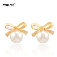 New Fashion 925 Silver Needle White Bowknot Bow Rhinestones Pearl Earrings For Women Jewelry Stud Earrings