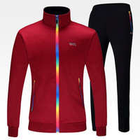 Autumn And Winter Outdoor Running Clothes Men Stand Collar Sports Set Couple Sportswear Student School Uniforms