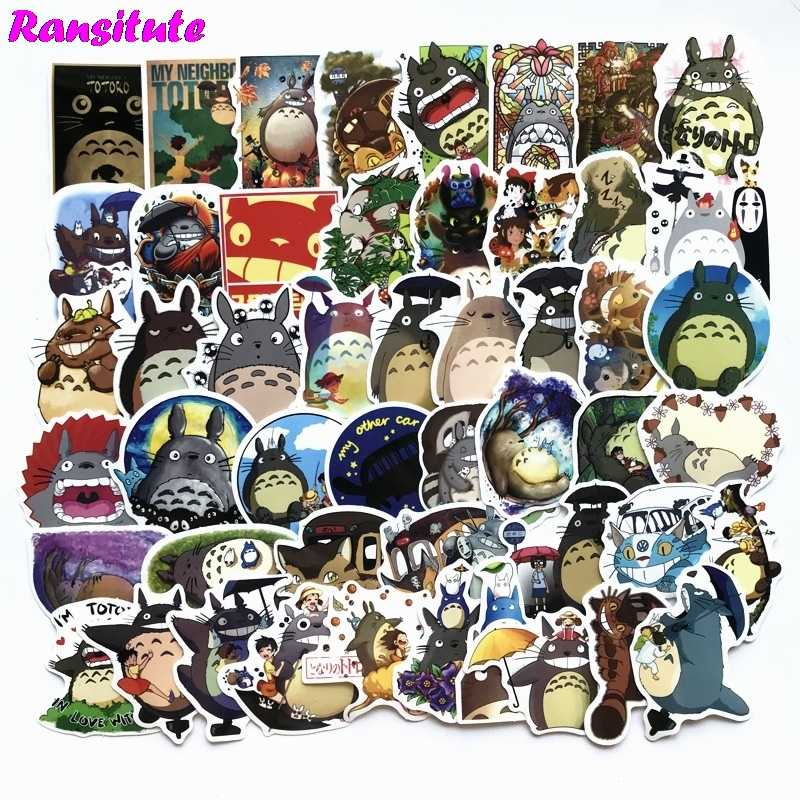 R119 50pcs/set My Neighbor Totoro Anime Cartoon Sticker DIY Luggage Laptop Skateboard Motorcycle Bike Sticker