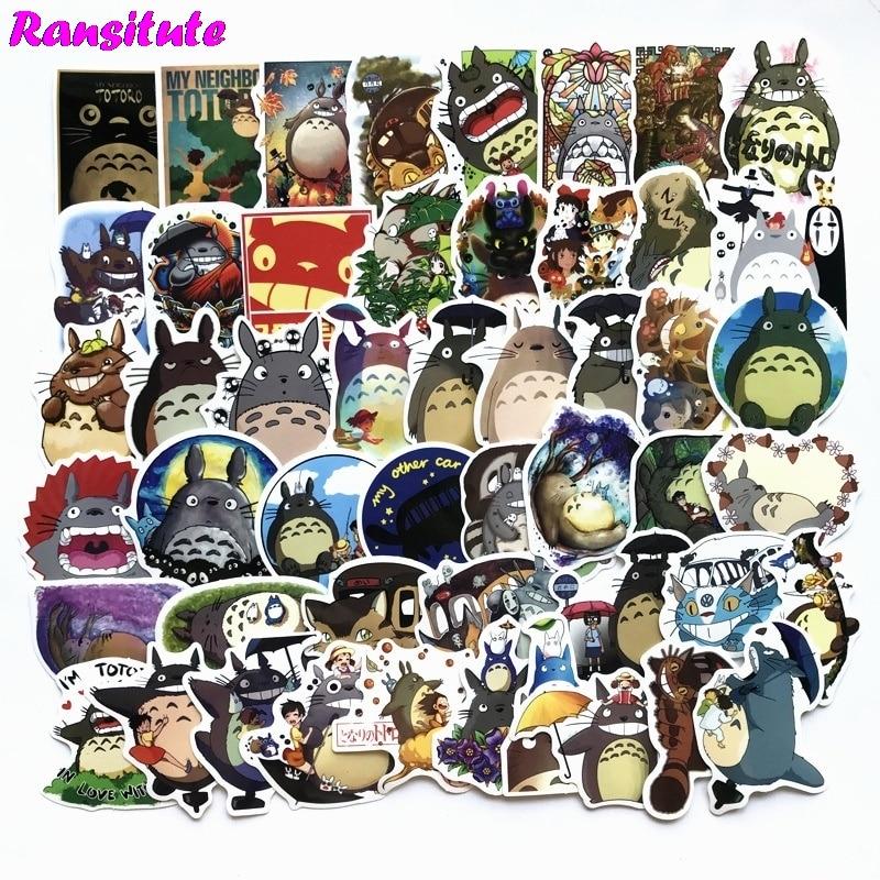 R119 50pcs/set My Neighbor Totoro Anime Cartoon Sticker DIY Luggage Laptop Skateboard Motorcycle Bike Sticker