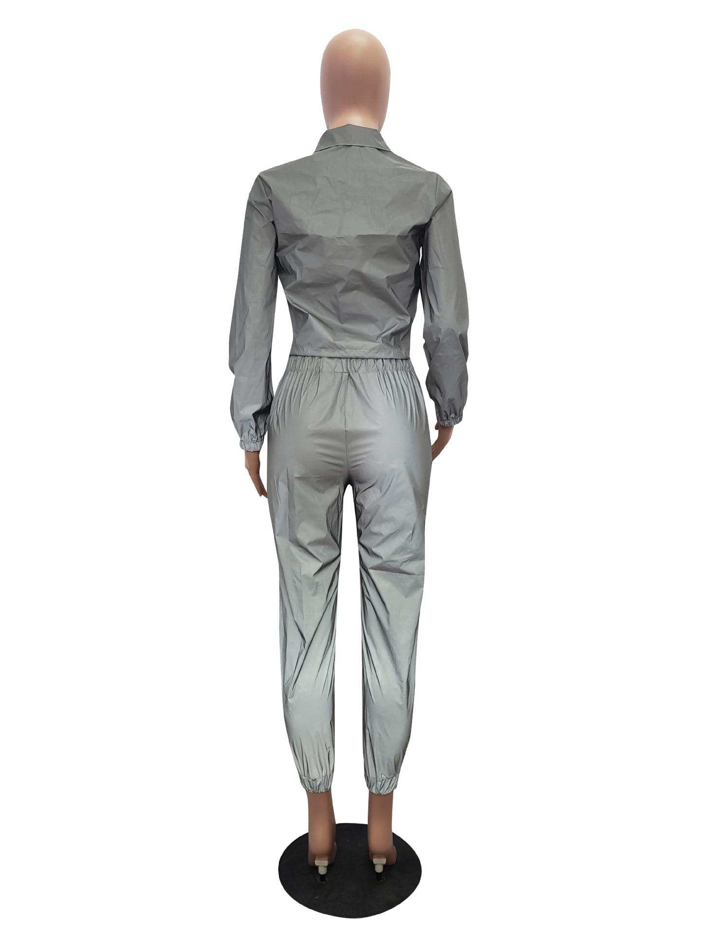 Prata Cordão Jaqueta Curta Camisola + Calças