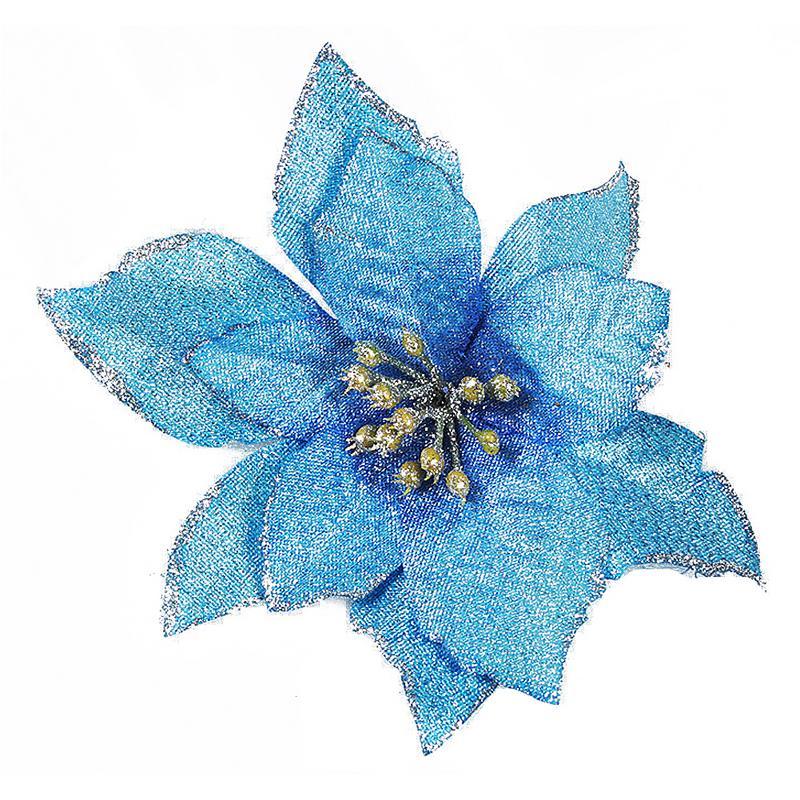1 шт. 15 см Золотой Край имитация на Рождество цветок для свадебной вечеринки гирлянды украшения многоцветный пластик липкий порошок цветок - Цвет: Синий