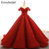 2018 Red Lace Ball Gown Evening Dress Fancy Embroidery Appliques Evening Gown Elegant Lace Up Back with Court Train Z6 263
