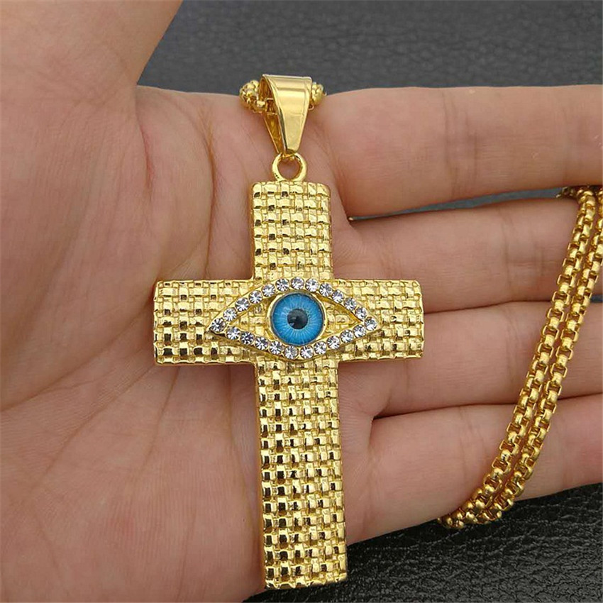 Mystique égyptien grande croix pendentifs colliers pour hommes couleur or oeil d'horus Colar acier inoxydable mâle egypte bijoux