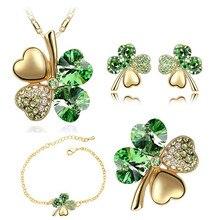 5 in set Necklace earrings rings bracelet brooch jewelry sets wedding 18K rose gold Crystal Clover 4 Leaf heart Pendant 9554