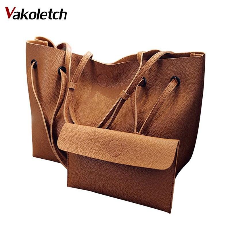 Vintage Borse Donna Cuoio DELL'UNITÀ di elaborazione di Grande Capacità Sacchetti di Spalla Femminile Delle Donne di Colore Solido corssbody Bag Composite KL224