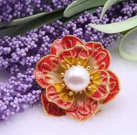 Wholesale price ^^^ Beautiful 10mm White Freshwater Pearl Red Flower Brooch Pin Pendant Jewelry