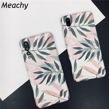 Meachy Pink Leaf Phone Case For Funda Huawei P30 P20 Pro Lite Hard PC Back Cover Honor 10 P10 Plus