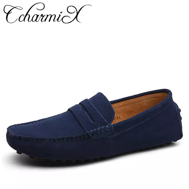 Men Casual Suede Leather Loafers Black Solid Leather Driving Moccasins Gommino Slip on Men Loafers Shoes Male Loafers Big Size agsan genuine leather men loafers snake moccasins fashion driving shoes slip on driving shoes black red suede casual loafers men