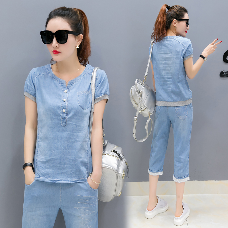 YICIYA Sky Blue Jeans Sets Tracksuits Women Pant Suits and Top Plus Size Large Co-ord Sportswear 2020 Summer Outfits Jean