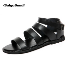 US6-9 New Summer Ankle Strap Narrow Band Cow Leather Casual Hasp Beach Sandal Peep Toe Mens Giadiator Thong Shoes