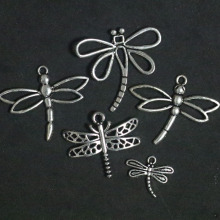 Mixed Dragonfly Pendant Charms For Jewelry Making DIY Handmade Fashion Jewelry Accessories Vintage Antique Silver
