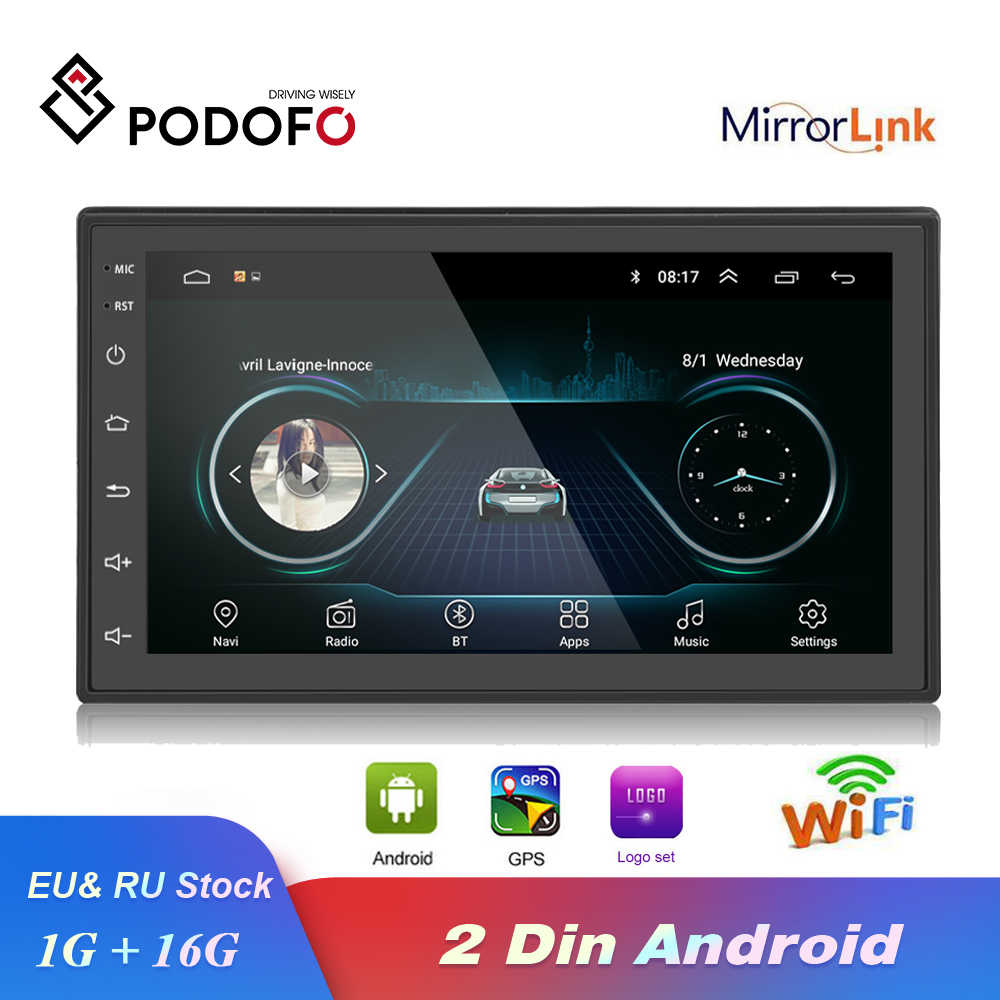 Podofo 2 din Car Radio Android GPS Multimedia Player Autoradio 7'' Touch Screen Bluetooth FM WIFI Auto Audio Stereo Mirrorlink