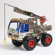 DIY металлическая Инженерная машина, сборные строительные блоки, Обучающие игрушки, детская разборка, модель из сплава