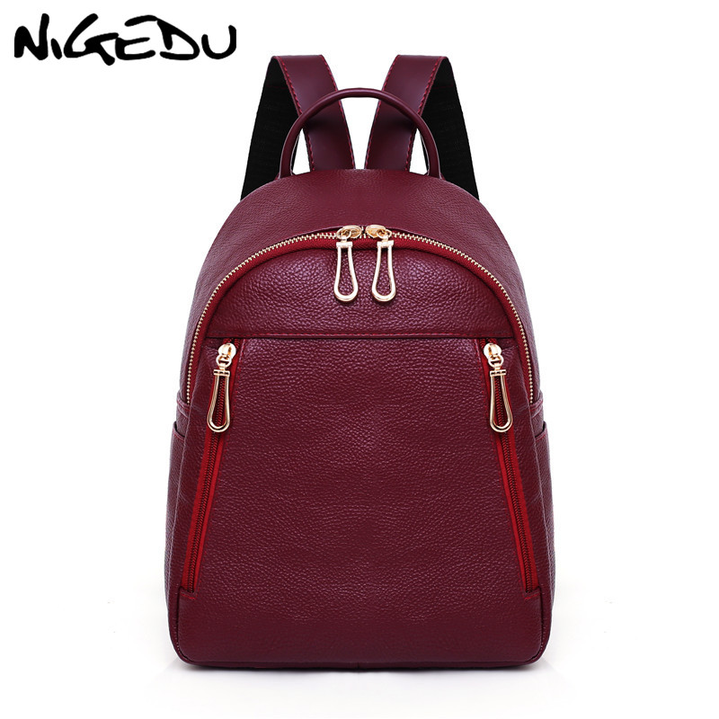 все цены на Fashion Women Backpack High Quality PU Leather Mochila School Bags For Teenagers Girls Backpack Female Travel bag bagpack Red