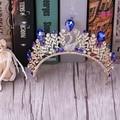 Novia de corea joyería de la aleación Azul Phoenix studio con tocado femenino princesa heredera de la corona de la corona