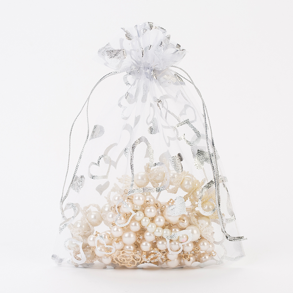 Organza Gift Bag 7x9cm White Bronzing Christmas Wedding Birthday Party Favor Holder Cheap Jewelry Packaging Drawstring Pouch