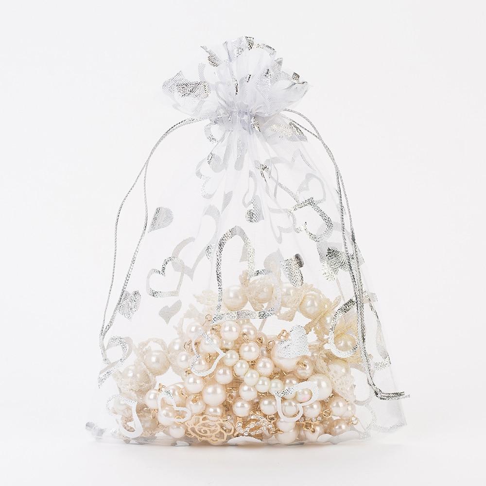 Organza Gift Bag 7x9cm White Bronzing Christmas Wedding Birthday ...