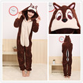 Men/Women Brown Chipmunk Costume Animal Hoodies Plush Pajamas Causal Lounge Sleepwear Free Shipping