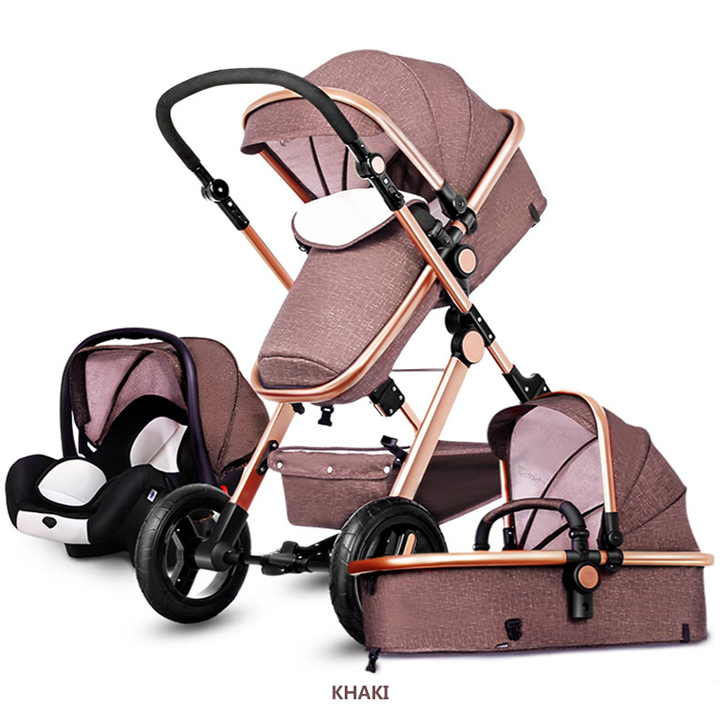 3 in 1 baby strollers aluminium alloy frame with baby car set super light folding pram newborn bebe car ...