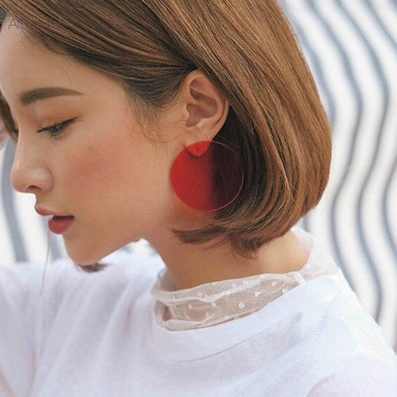 Aomu Simple Design Geometric Earrings Female Transpa Round Circle Acrylic Stud For Women Brincos Jewelry 4 Cm