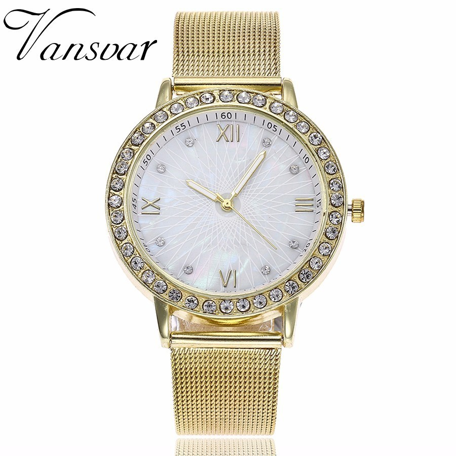 Vansvar Lxury Gold Watch Women Rhinestone Watch Ladies Fashion Dress Quartz Watch Reloj Mujer Relogio Feminino Gift 1322 new fashion watch women rhinestone quartz watch relogio feminino the women wrist watch dress fashion watch reloj mujer dift box