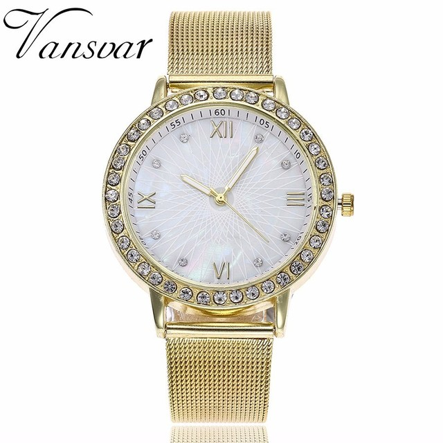 Vansvar Lxury Gold Watch Women Rhinestone Watch Ladies Fashion Dress Quartz Watc
