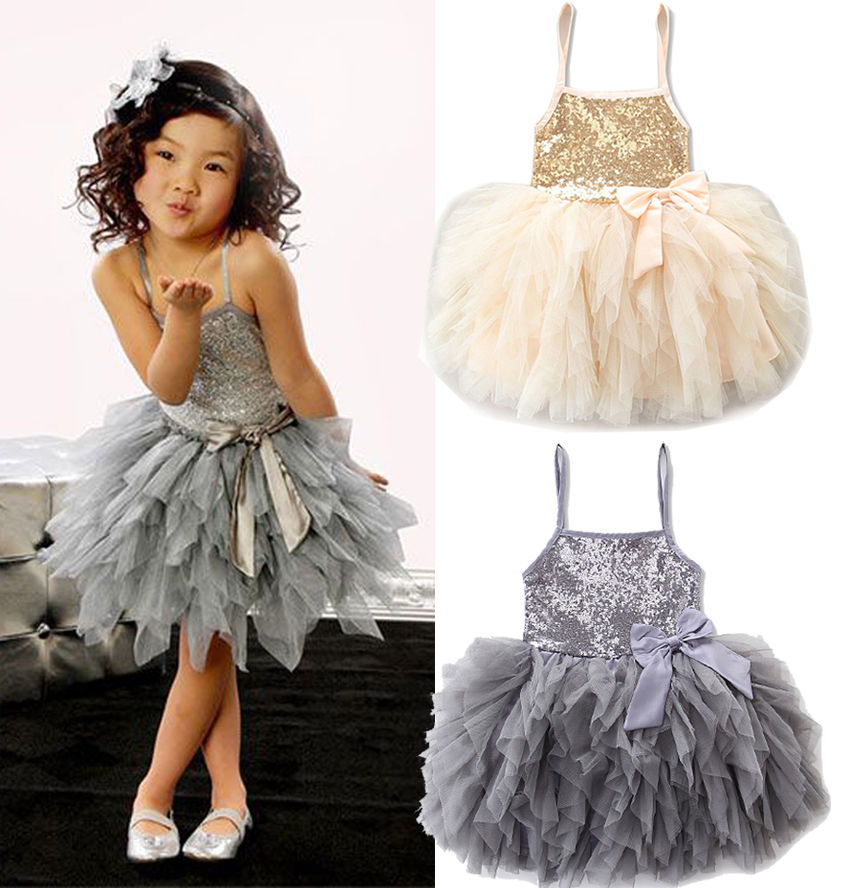 2017 new sequins kids girls lace tulle bowknot tutu dress