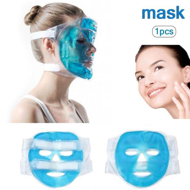1 Pcs Cold Gel Face Mask Ice Compress Blue Full Face Cooling Mask Fatigue Relief Relaxation Pad With Cold Pack Faicial Care 20 1